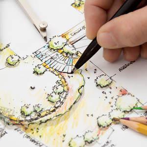 Garden Design Blueprint Sketching